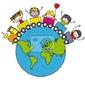 Fototapeta niños en un tren alrededor del mundo