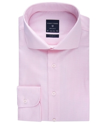 Elegancka koszula męska taliowana slim fit w różową krateczkę 44
