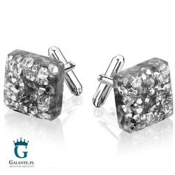 Srebrne spinki do mankietów z kryształkami smm-008
