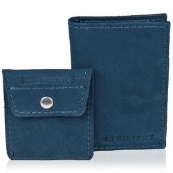 Skórzany zestaw portfel i bilonówka brodrene sw03 + cw02 granatowy - granatowy