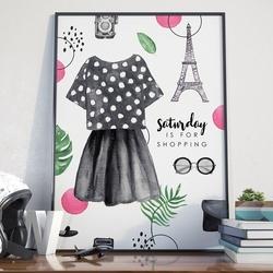 Plakat w ramie - saturday is for shopping , wymiary - 40cm x 50cm, ramka - biała