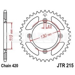 Zębatka tylna aluminiowa jt a215-49, 49z, rozmiar 420 2303630 honda cr 80