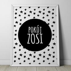 Pokój quot;imię dzieckaquot; - plakat personalizowany w gwiazdki , wymiary - 20cm x 30cm, kolor ramki - biały