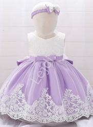 Fioletowo biała sukienka dla małej księżniczki, komplet z opaską