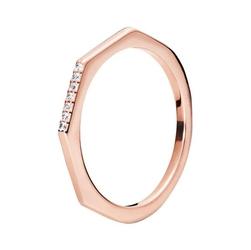 Staviori pierścionek. cyrkonia. srebro 0,925.  pokryte różowym złotem szerokość obrączki ok. 1,8 mm.