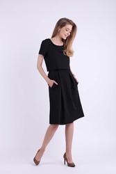 Wizytowa Rozkloszowana Czarna Sukienka z Nakładką