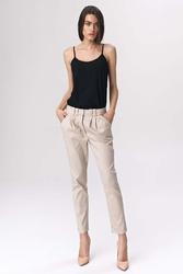 Beżowe spodnie cygaretki z zakładkami