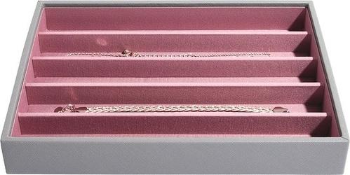 Szkatułka na biżuterię stackers pięciokomorowa classic szaro-różowa