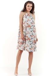 Ecru zwiewna sukienka mini w kwiatowy wzór z wiązanym dekoltem