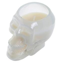 Biała czaszka - świeczka zapachowa: drzewo sandałowe i cedr