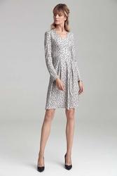 Lekka sukienka z dekoltem v z tkaniny z wzorem