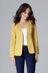 Żółty elegancki prosty żakiet bez zapięcia