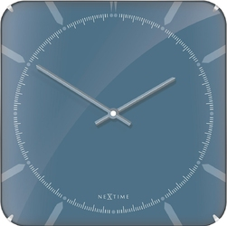Kwadratowy zegar ścienny michael dome nextime 35 x 35 cm, niebieski 3172