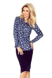 Granatowa bluzka elegancka z wiązaną szarfą wzór motyl
