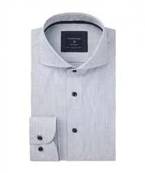 Męska koszula biała w niebieskie kropki dobby 37