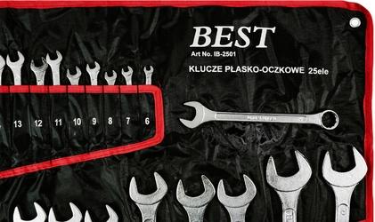 Zestaw kluczy płasko-oczkowych 6-32mm klucze 25 elem. + płachta