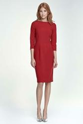 Czerwona Sukienka Ołówkowa Wizytowa