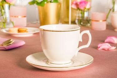Filiżanka do cappuccino ze spodkiem porcelana mariapaula ecru złota linia 350 ml opakowanie prezentowe