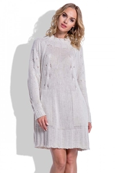 Swetrowa Beżowa Sukienka Oversize z Kieszeniami
