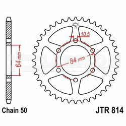 Zębatka tylna stalowa JT 814-45, 45Z, rozmiar 530 2300084 Suzuki GT 550