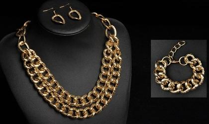 KOMPLET biżuterii NASZYJNIK bransoletka KOLCZYKI - GOLD