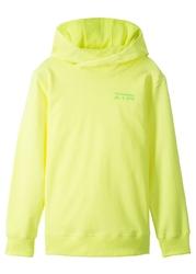 Bluza z kapturem bonprix żółty neonowy z nadrukiem