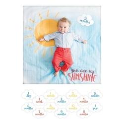 Zestaw lulujo: kocyk-otulacz 100x100cm + karty do zdjęć - my sunshine