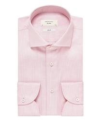 Elegancka różowa koszula profuomo sky blue z włoskim kołnierzykiem, slim fit 42