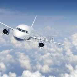 Obraz na płótnie canvas trzyczęściowy tryptyk samolot na niebie
