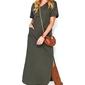 Nowoczesna dresowa maxi khaki sukienka z krótkim rękawem