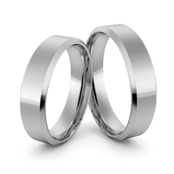Obrączki ślubne platynowe klasyczne płaskie fazowane 5 mm - pt-31