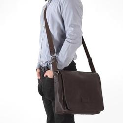 Stylowa torba męska na ramię casual solier s11 brązowa - brązowy
