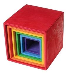 Drewniane pudełka 0+, tęczowe, grimms