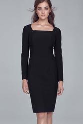 Czarna elegancka sukienka z prostokątnym dekoltem