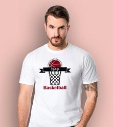 Basketrball t-shirt męski biały l