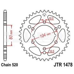 Zębatka tylna stalowa jt 1478-40, 40z, rozmiar 520 2301884 kawasaki zx-7rr 750, zx-6rr 600