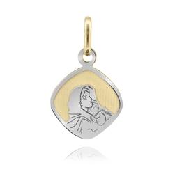 Złoty medalik z matką boską pr. 585 na chrzest komunię