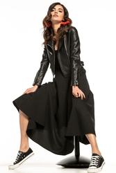 Zwiewna spódnica midi z wysokim stanem czarna t260