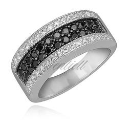 Srebrny, szykowny pierścionek pr.925 z czarnymi cyrkoniami