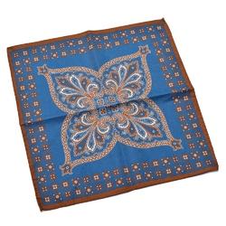 Elegancka niebieska dwustronna poszetka w duży wzór