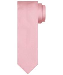 Pudrowo -różowy krawat jedwabny o skośnym splocie