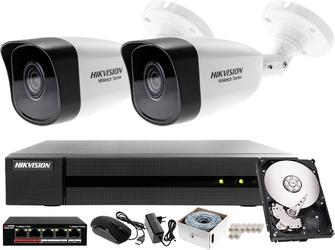 Monitrong sklepu, magazynu ip podglad on-line hikvision hiwatch rejestrator ip hwn-4104mh + 2x kamera 4mp hwi-b140h-m+ akcesoria
