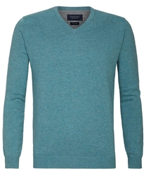 Turkusowy sweter  pulower v-neck z bawełny pima  xxxl