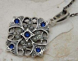 Panama - srebrny wisiorek z szafirami i perłami
