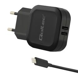 Qoltec Ładowarka sieciowa 17W | 5V | 3.4A | 2xUSB + kabel USB typC