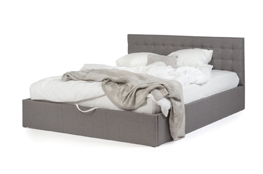 Łóżko z pojemnikiem Nero 160x200 ze stelażem szare