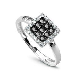 pierścionek białe złoto czarne diamenty