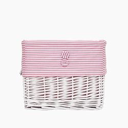 Koszyk wiklinowy duży - paski - różowe