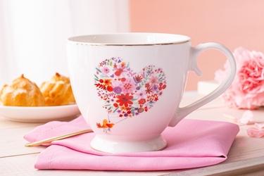 Duży kubek na stópce  filiżanka jumbo porcelanowa na prezent altom design romantic 350 ml, dekoracja b