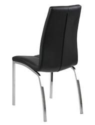Czarne krzesło z ekoskóry na chromowanych nogach otaru